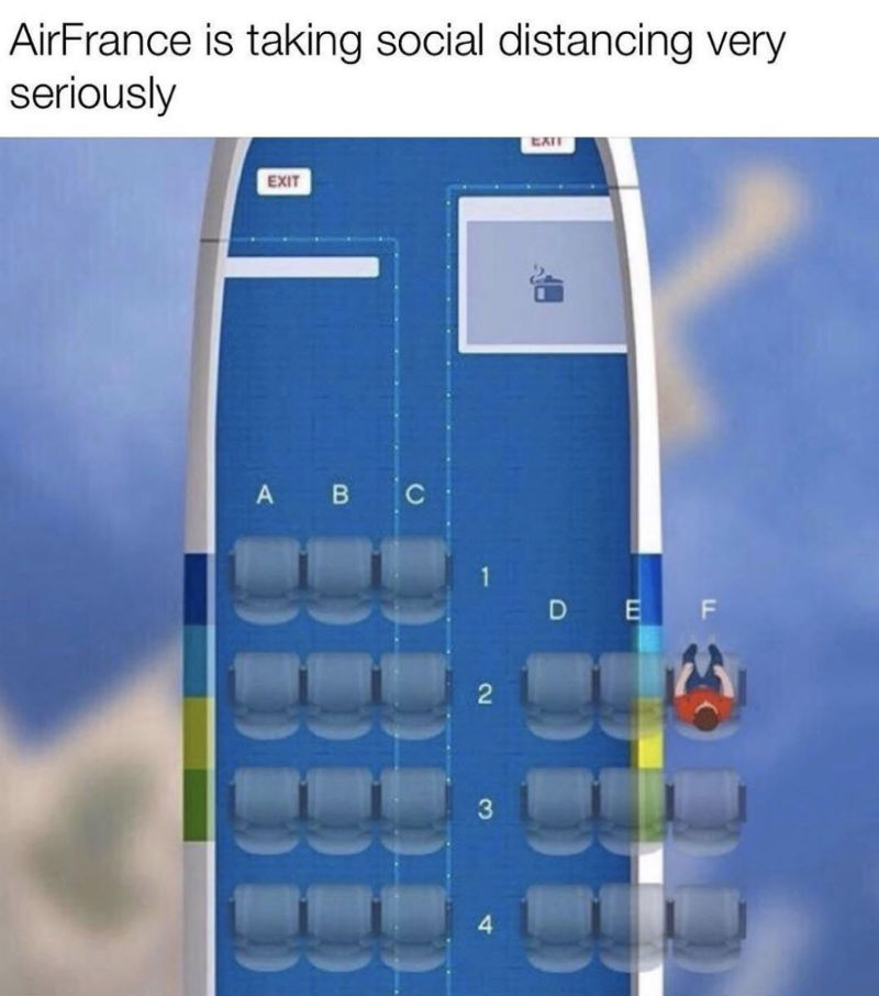 air france is taking social distancing seriously meme