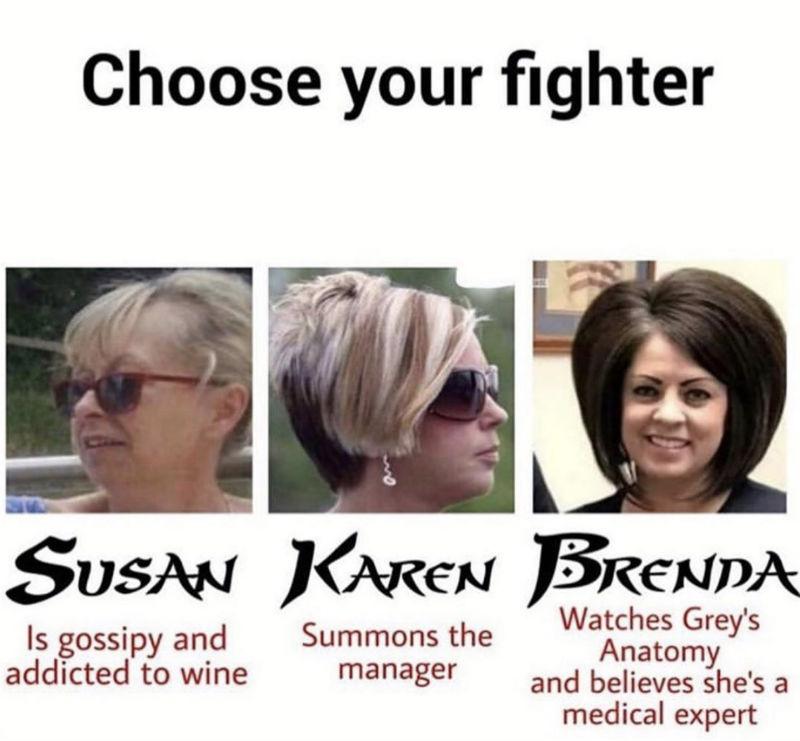 choose your fighter karen meme