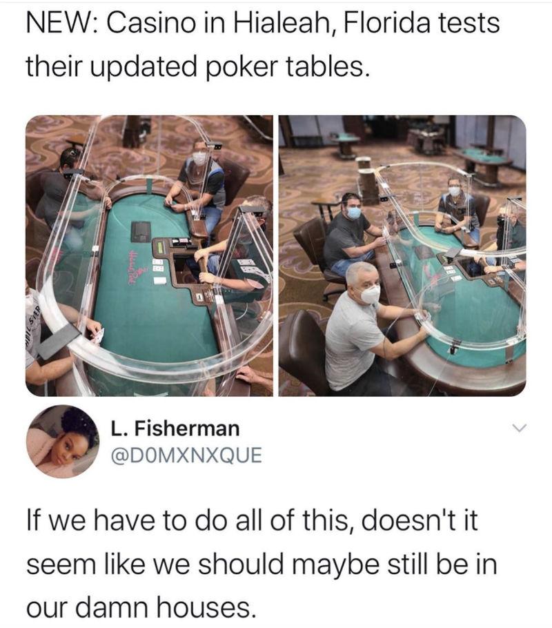 coronavirus poker tables