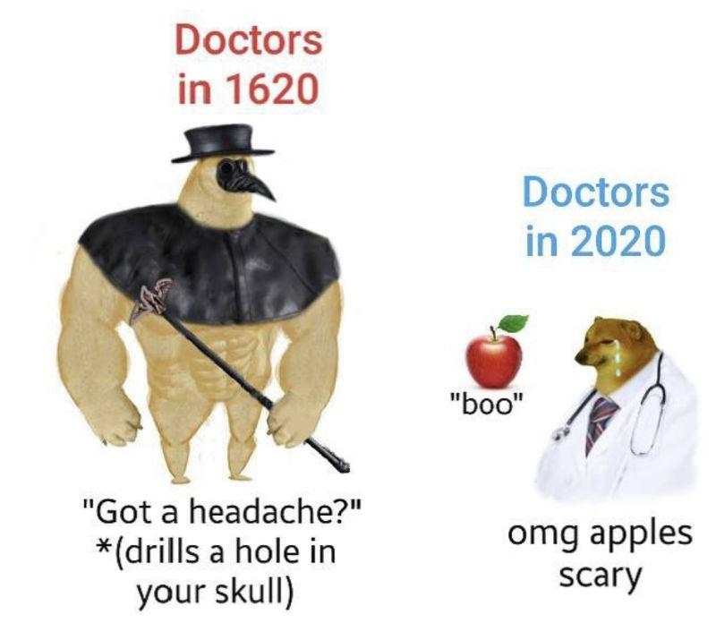 doctors in 1620 vs doctors in 2020 meme