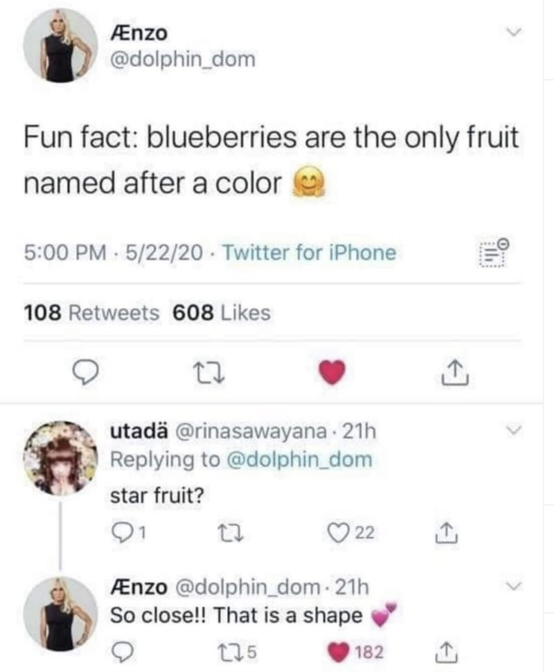 fun fact blueberries are the only fruit named after a color