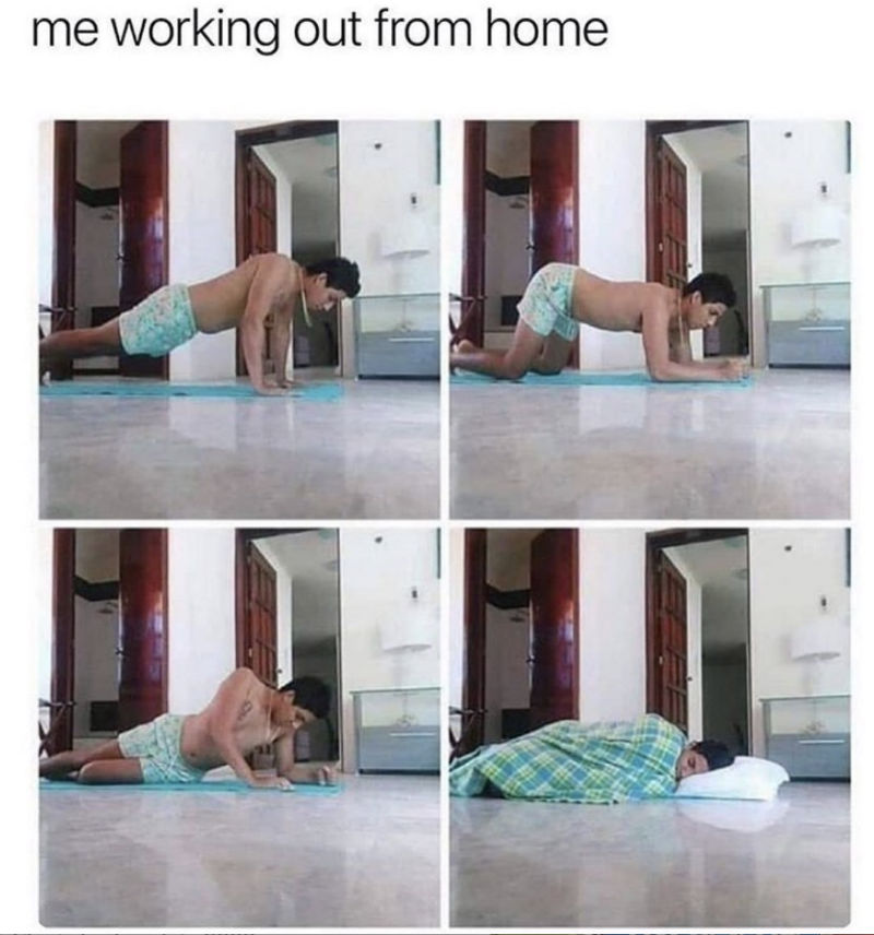 me working out from home