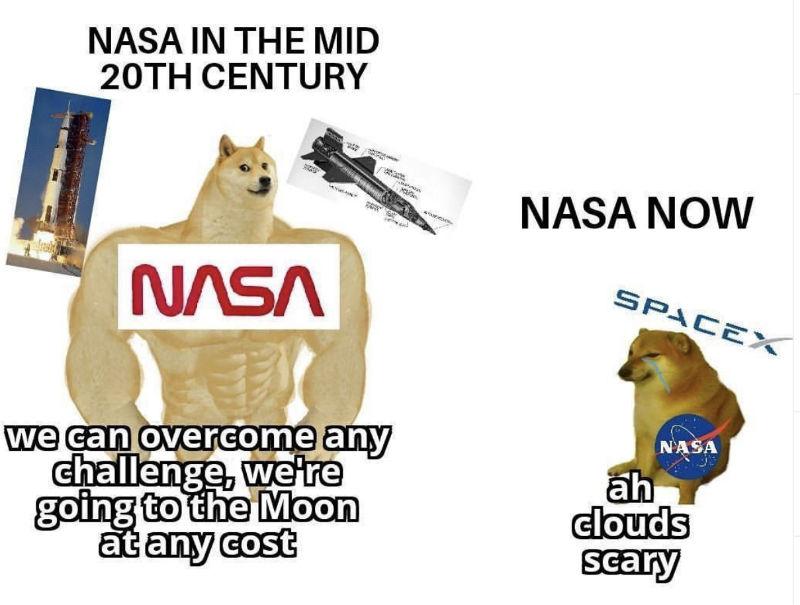 nasa in the mid 20th century vs nasa now