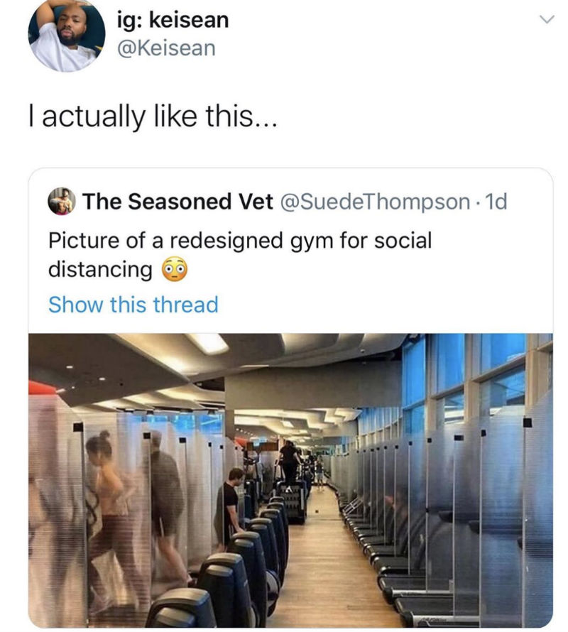 social distancing gym meme