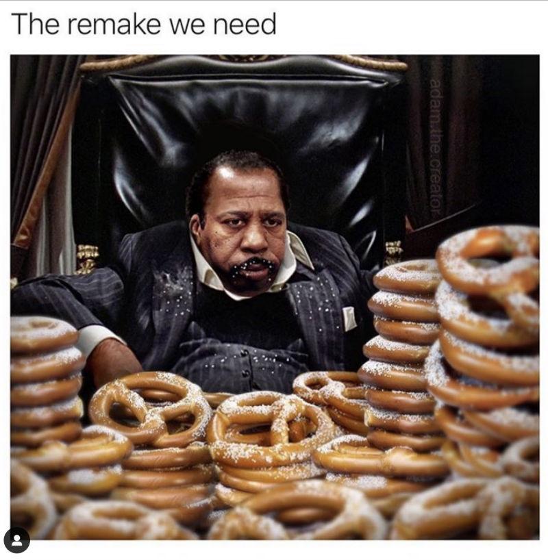stanley the office pretzel scarface meme