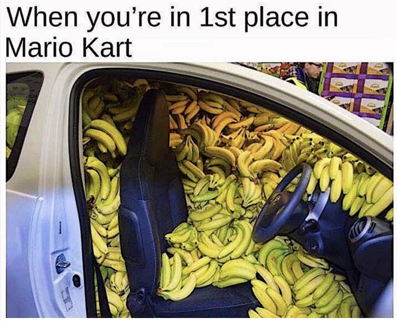 when you're first place in mario kart
