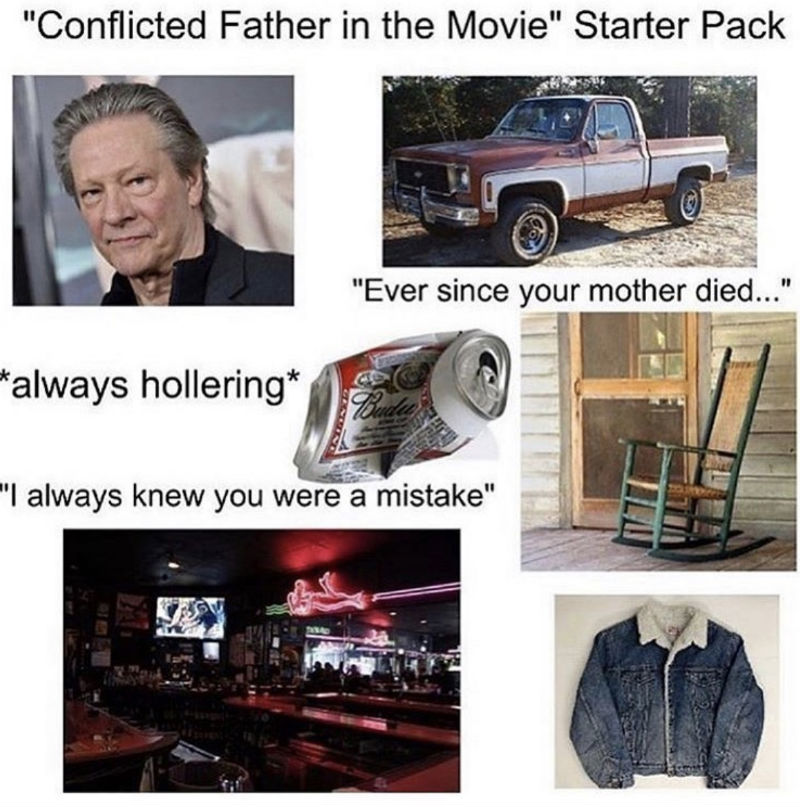 conflicted father in the movie starter pack
