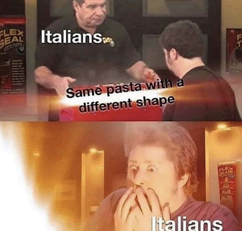 italians same pasta with a different shape