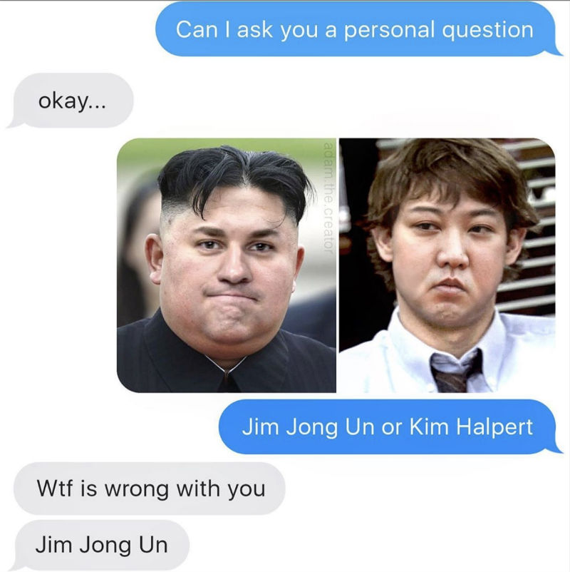 jim jong un or kim halpert meme