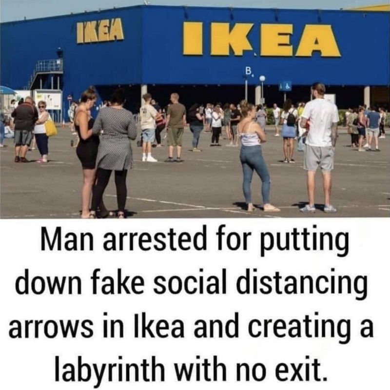 man arrested for putting down fake social distancing arrows in ikea