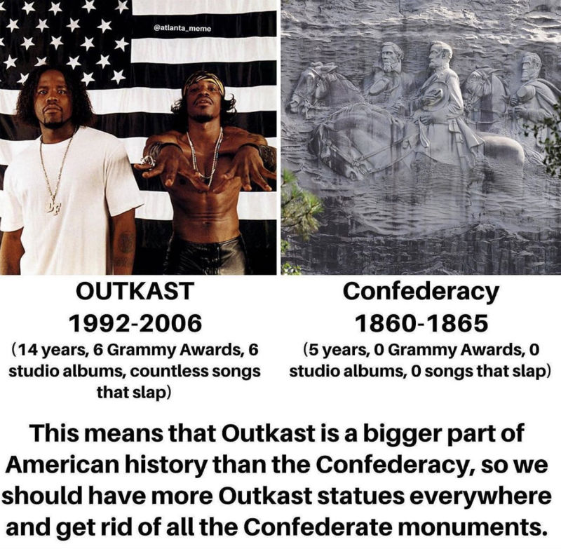 outkast is a bigger part of american history than the confederacy
