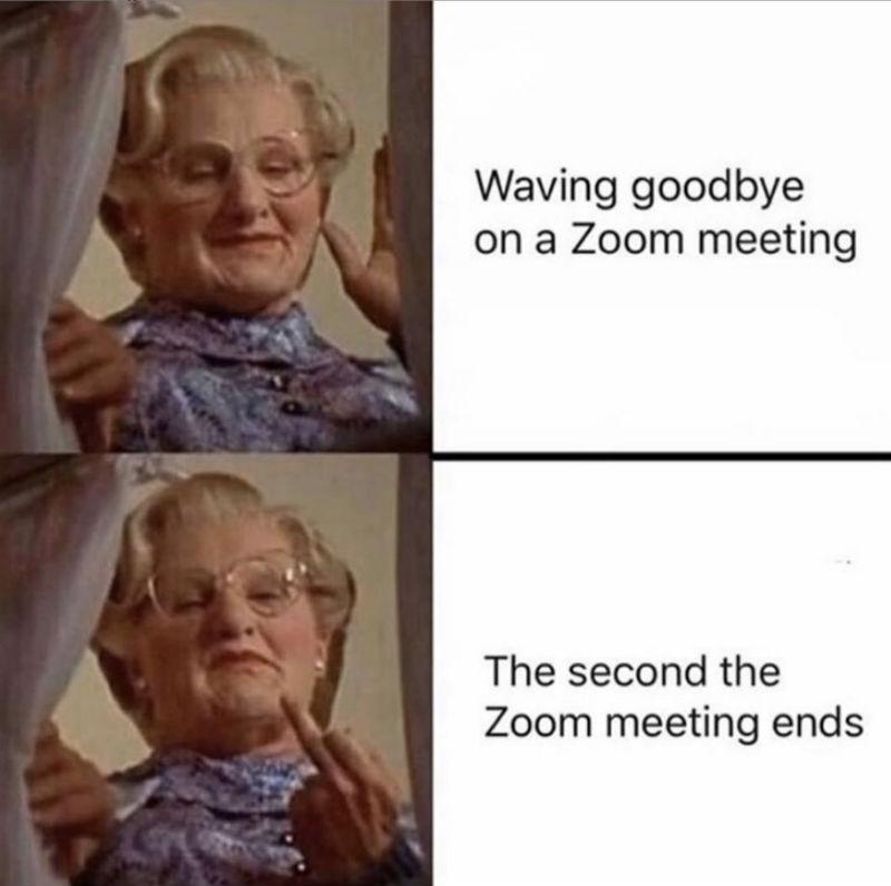 waving goodbye on a zoom meeting