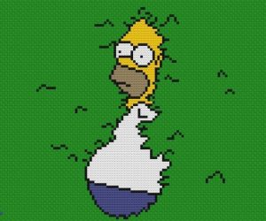 Homer in the Bushes Cross Stitch Pattern –This is a very easy cross stitch pattern with no half-stitches or backstitching!