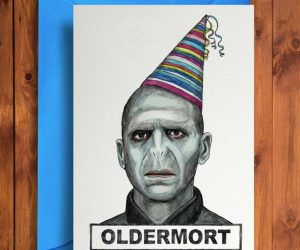 Oldermort Greeting Card – greet someone a happy birthday with he-who-shall-not-be-named on the print!