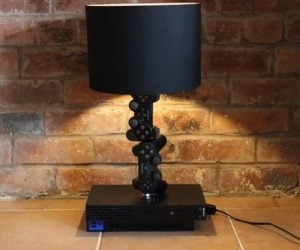 Playstation Controller Desk Lamp – up cycled Playstation 2 in black & 2 original controllers made into a table lamp!
