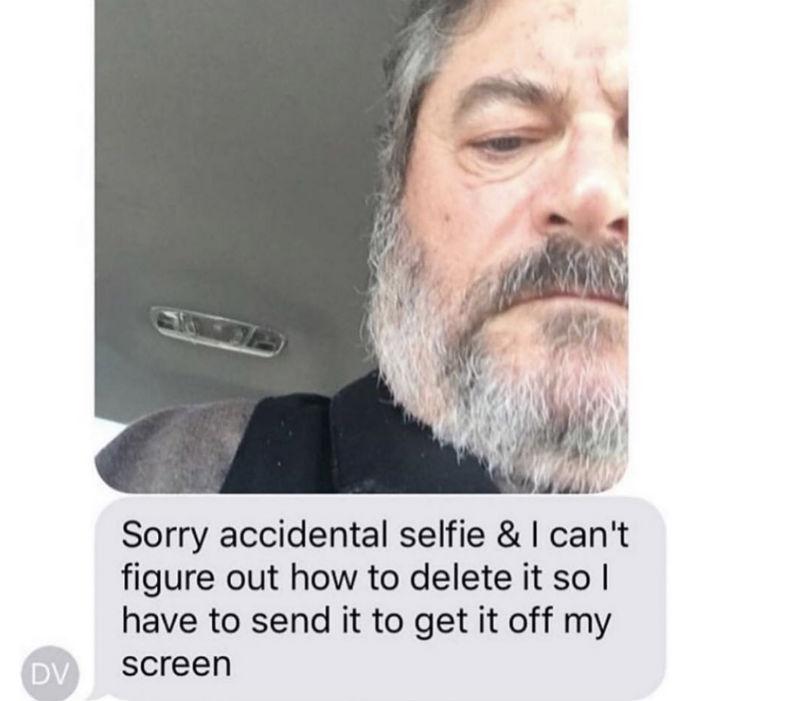 sorry accidental selfie meme