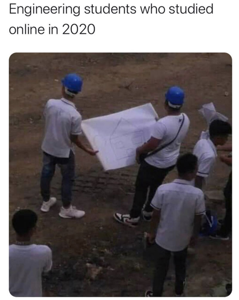 engineering students who studied online in 2020