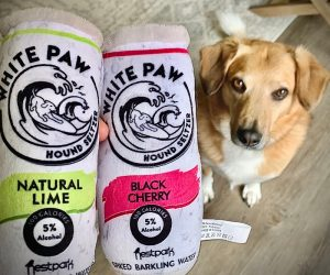 White Paw Plush Toy For Dogs – Make your pup your new drinking buddy!