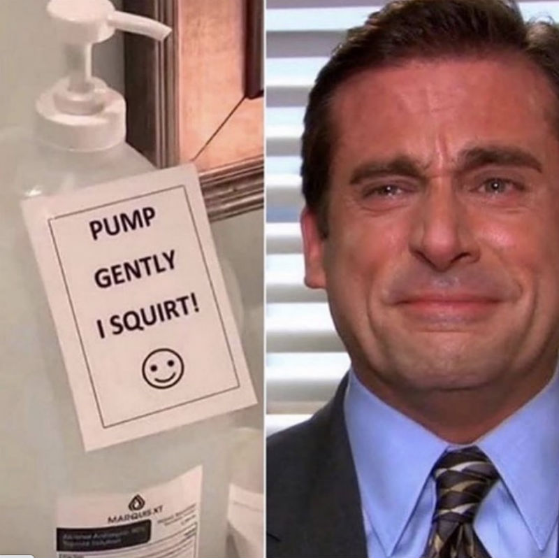 pump gently i squirt michael scott meme