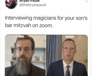 Interviewing Magicians For Your Son's Bar Mitzvah On Zoom – Jack And Zucc Meme