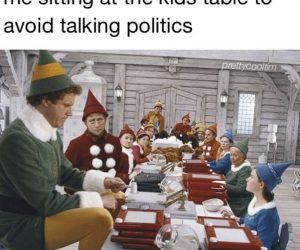 Me Sitting At The Kids Table To Avoid Talking Politics – Thanksgiving Meme