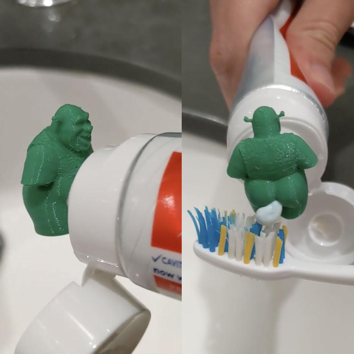 shrek pooping toothpaste cap