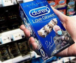 Bernie Sanders Mittens Meme Durex Love Gloves hand knit condoms