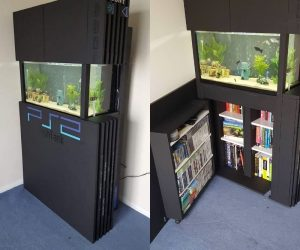 PS2 Fish Tank – This PS2 Fish Tank makes a wonderful aquarium/bookshelf in your gaming room!