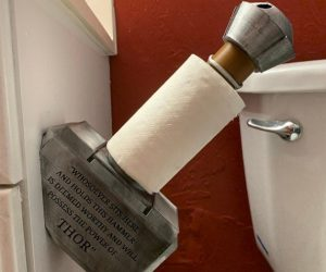 Thor's Mjolnir Toilet Paper Holder – Hold your toilet paper with Thor's mighty hammer Mjolnir!