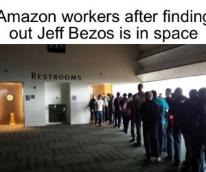 Amazon Workers After Finding Out Jeff Bezos Is In Space – Meme