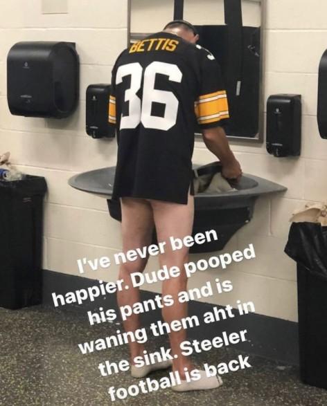 steeler fan poops pants meme