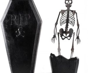 Coffin Skeleton Candle –As this coffin candle melts, a metal skeleton emerges, making for a great conversation piece that guests will definitely love.