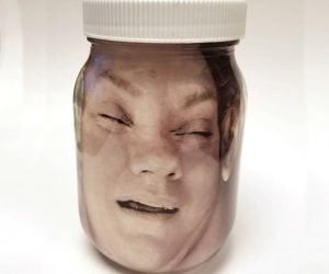 Personalized Your Face In A Jar –Put YOUR face inside a pint-size mason jar. Scary, lab specimen-looking centerpiece for your Halloween party!
